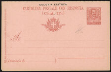 ERITREA 1903 - INTERO POSTALE, CARTOLINA POSTALE R.P. C.7 1/2+7 1/2