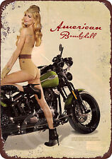U.S. WWII Vintage 1943 Motorcycle Pinup Girl Reproduction metal Sign 8 x 12