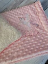 Personalised  Dimple  Fleece Baby Blanket Unicorn Extra Thick Luxury Minky