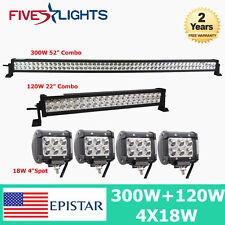 "52"" 300W+22"" 120W LED WORK LIGHTS BAR S/F COMBO OFFROAD 4WD ATV 4X 18W 4"" CUBE"
