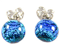 "Tiny DICHROIC GLASS EARRINGS 1/4"" 7mm Silver BLUE Sky Dots Post Surgical Studs"
