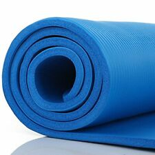 Blue Thick Non-Slip Large Yoga Mat Pad Exercise Gym Meditation Carrying Strap