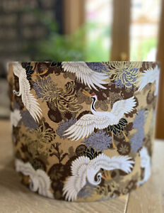 NEW MADE TO ORDER LAMPSHADE JAPANESE ORIENTAL CRANES BIRD BROWN TAUPE MOCHA GOLD