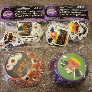 """Wilton Halloween 2"""" Cupcake Liners With 3"""" Pics Set of 2, total of 48 cupcakes"""