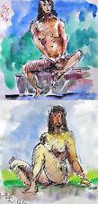 Rudolf disco 1918-2002 Solnhofen/2 aktzeichnungen (acquerello & inchiostro di china) 1996