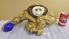"1746M Vtg 1974 Signed Deni Ceramic Orangutan/Ape/Monkey Large 20"" Wide Exc Cond!"