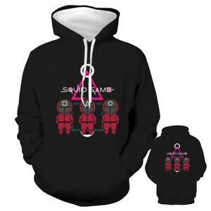 Fashion Squid Game Black Hoodie Men Women Casual Pullover Jacket