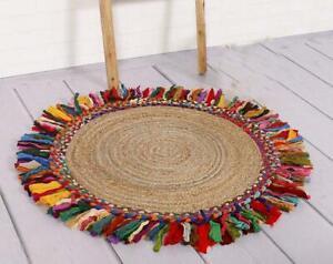 Rug 100% Natural Jute Cotton Braided Style Home Decor Floor Modern Carpet Rug