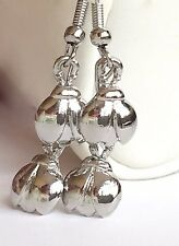 Silver Ladybug Earrings Double Dangle Plated Pierced Insect Bug USA Seller