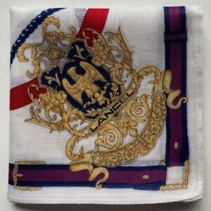 """USED HANDKERCHIEF VINTAGE COTTON 18"""" ART SHACKLE CHAIN PATTERNED POCKET SQUARE"""
