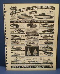 IDEAL MODELS 1961 Model boating single sided dealer sales flyer L@@K!