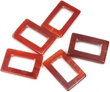 37x25mm Carnelian Agate Frame Rectangle Pendant Beads (5 pcs)