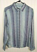Armani Exchange Men's Size Large Blue/Purple Long Sleeve Button Up Shirt
