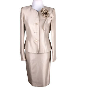 New Kasper Women 2 PC Champagne Polyester Lined Skirt Suit Size 4 MSRP $240