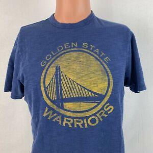 47 Brand Golden State Warriors Franklin Fieldhouse T Shirt NBA Retro Blue Size S