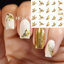 1Sheet Vivid Gold Butterfly Pattern Nail Art Water Decals Transfer Sticker #C042