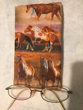 CLOTH EYE GLASS SUNGLASSES CASE HOLDER Paint Horses 🐎 NEW HANDMADE