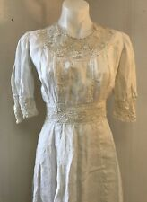 Woman's Vintage Edwardian Tea Gown White Cotton And Lace Summer Dress Frock