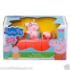 Peppa Pig push and go red car with Mummy Daddy & Peppa Pig 3 figures 18m+