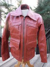 VTG 60s DEMIAN LEATHER BIKER MOTORCYCLE JACKET/SPANISH/CAFE RACER/RED/ORANGE/38!