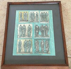 Henry Moore ~ sketches for three standing figures 1946 ~ lithograph ~ FREE SHIP
