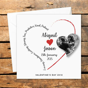 Personalised Photo Heart Valentines Day Card Husband Wife Boyfriend Girlfriend