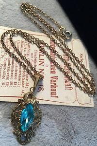 Beautiful Art Deco Blue Marquis Rhinestone Rolled Gold Ornate Pendant Necklace