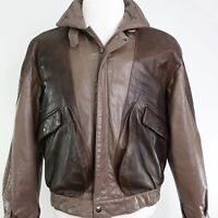 VTG BERMAN'S BROWN LEATHER BOMBER JACKET MENS SIZE S SMALL RARE GOOD CONDITION!