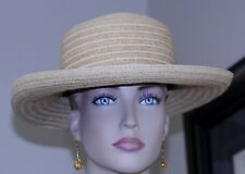 "vintage hat straw raffia band sweat band inside 21 1/2"" garden beach cruise"