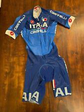CASTELLI BODY NAZIONALE ITALIANA SHORT SLEEVE Skinsuit Time Trial TT Suit  M
