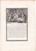 Gravure XVIIIe Scène Naissance de la Poésie Trouvères Troubadours Fabliaux