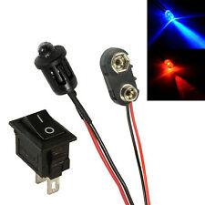 Alterna Red & Blue coche falsa falsa Alarma Led + PP3 Conector + Switch Kit