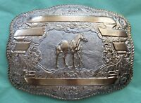 VTG HUGE Crumrine International BUCKSKIN HORSE World Champion Trophy BELT BUCKLE