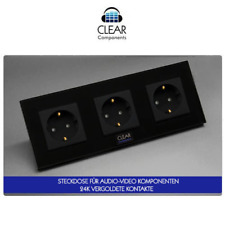 1x HIFI STECKDOSE VERGOLDET 3-FACH GLAS SCHWARZ - GOLD WALL SOCKET - HIGHEND-TOP