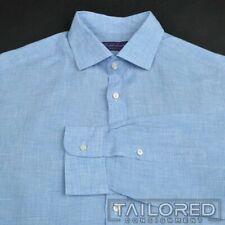 RALPH LAUREN PURPLE LABEL Blue Plaid Check LINEN Mens Luxury Dress Shirt - 16.5