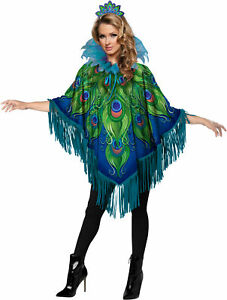 Peacock Womens Adult Poncho Costume Accessory Kit NEW One Size