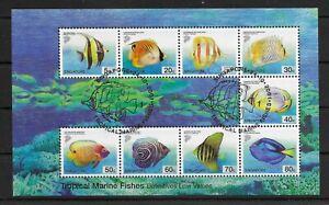 SINGAPORE *2001* M/Sheet (9 stamps) * CTO - MNH** Fish - Mi. BL83