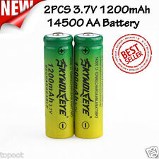 2PCS 3.7V 1200mAh 14500 AA Li-ion Rechargeable Battery For Flashlight Torch Lamp