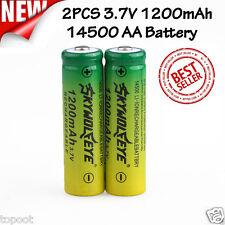 2PCS 3.7V 1200mAh 14500 AA Li-ion Rechargeable Battery For Flashlight Torch Lamp