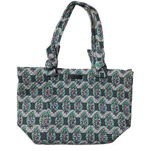 Vera Bradley Hadley East West Tote Gray Paisley Stripes Handbag