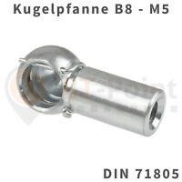 Kugelpfanne Stahl verzinkt B8 M5 DIN 71805 mit Sicherungsbügel Kugel Pfanne Kopf