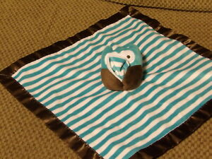 Adorable Old Navy Aqua Blue & White Plush OWL Brown Satin Security Blanket (*7b)