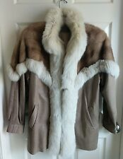 Womens Brown and White Mink Tuxedo/Trim & Beige Paisley Leather Coat Sz L/Large
