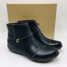 Clarks Collection Women's Ashland Pine Leather Ankle Booties, Black