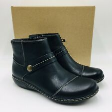 Clarks Collection Women's Ashland Pine Leather Ankle Booties, Black, Wide