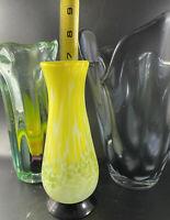 3 Vintage Signed Art Vase Signed Vase Grey Yellow Glass Hand Artisan Blown Lot