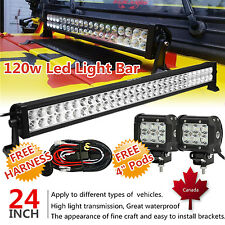 24 inch LED Light Bar Combo + 4inch Cree Work Pods Offroad Truck Jeep SUV 22/20