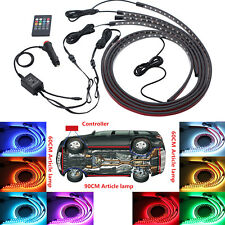 LED RGB Under Car Tube Glow Underglow Underbody System Neon Strip Lights Kit 4X
