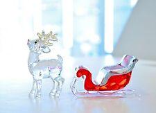 Swarovski Christmas Santa's Reindeer Sleigh Red 5223261 5223691 Brand New In Box