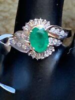 Genuine Emerald And Diamonds 14 ct yellow gold ring. Zales Designer.